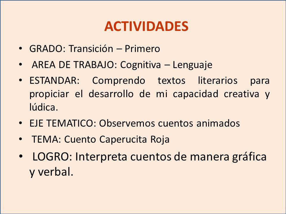 ACTIVIDADES GRADO: Transición – Primero AREA DE TRABAJO: Cognitiva – Lenguaje ESTANDAR: Comprendo textos literarios para propiciar el desarrollo de mi capacidad creativa y lúdica.