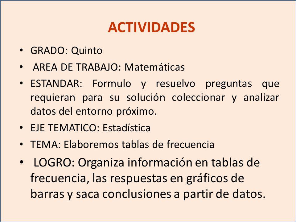 ACTIVIDADES GRADO: Quinto AREA DE TRABAJO: Matemáticas ESTANDAR: Formulo y resuelvo preguntas que requieran para su solución coleccionar y analizar datos del entorno próximo.