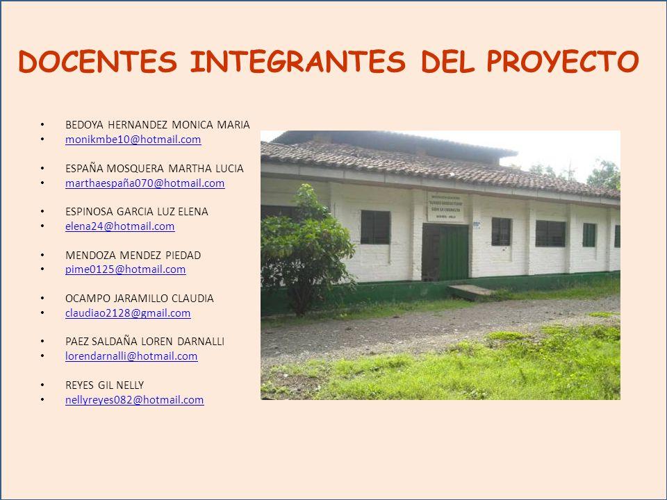 DOCENTES INTEGRANTES DEL PROYECTO BEDOYA HERNANDEZ MONICA MARIA monikmbe10@hotmail.com ESPAÑA MOSQUERA MARTHA LUCIA marthaespaña070@hotmail.com ESPINOSA GARCIA LUZ ELENA elena24@hotmail.com MENDOZA MENDEZ PIEDAD pime0125@hotmail.com OCAMPO JARAMILLO CLAUDIA claudiao2128@gmail.com PAEZ SALDAÑA LOREN DARNALLI lorendarnalli@hotmail.com REYES GIL NELLY nellyreyes082@hotmail.com