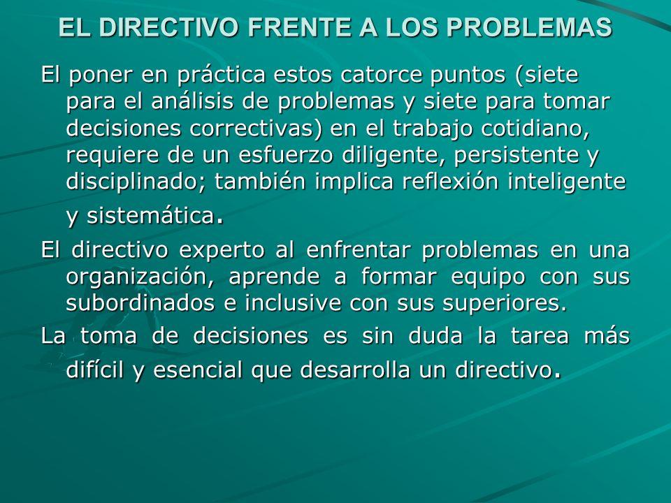 EL DIRECTIVO FRENTE A LOS PROBLEMAS El poner en práctica estos catorce puntos (siete para el análisis de problemas y siete para tomar decisiones corre