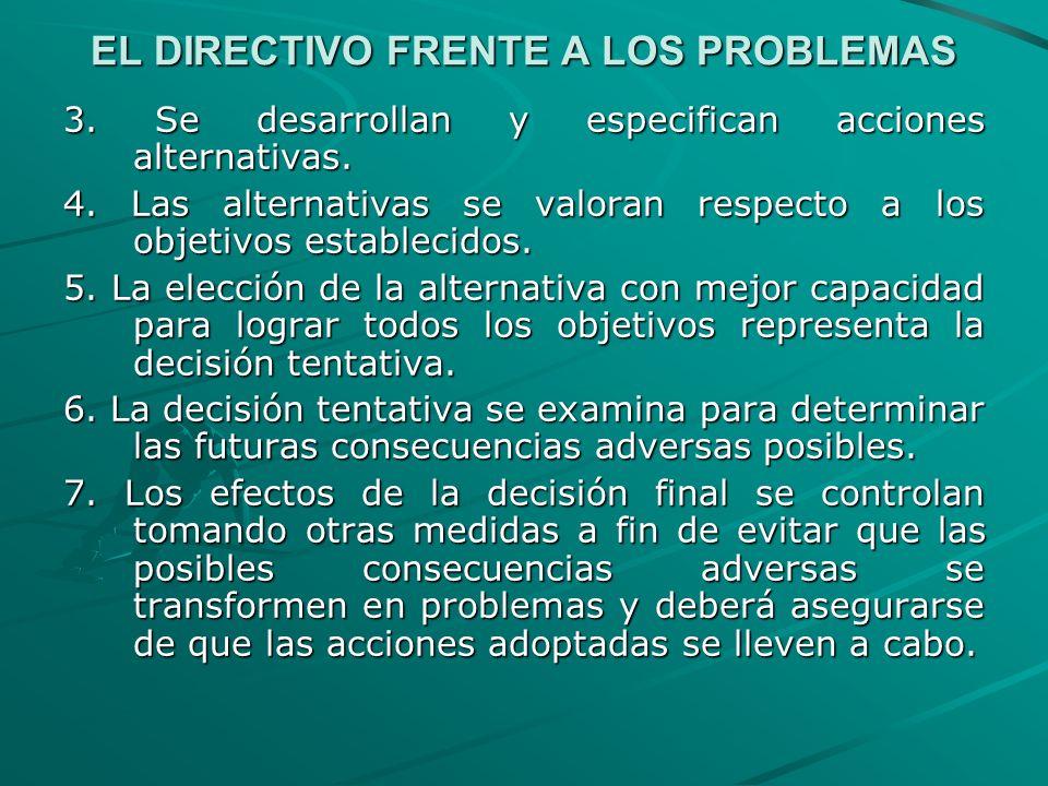 EL DIRECTIVO FRENTE A LOS PROBLEMAS 3. Se desarrollan y especifican acciones alternativas. 4. Las alternativas se valoran respecto a los objetivos est