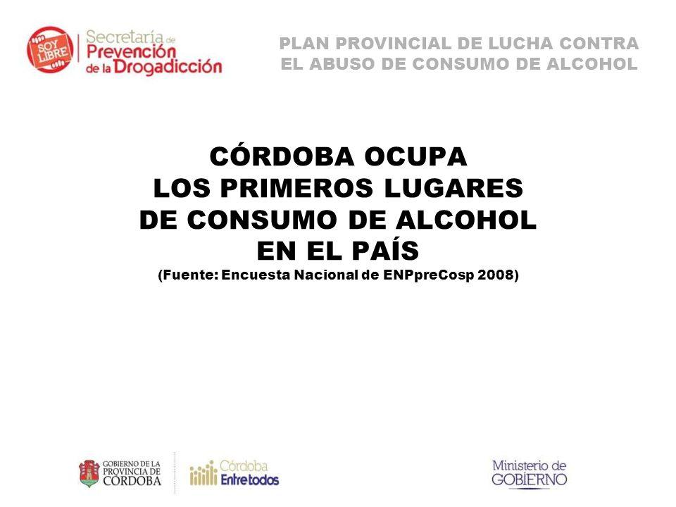 CÓRDOBA OCUPA LOS PRIMEROS LUGARES DE CONSUMO DE ALCOHOL EN EL PAÍS (Fuente: Encuesta Nacional de ENPpreCosp 2008) PLAN PROVINCIAL DE LUCHA CONTRA EL ABUSO DE CONSUMO DE ALCOHOL