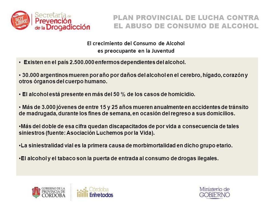 El crecimiento del Consumo de Alcohol es preocupante en la Juventud Existen en el país 2.500.000 enfermos dependientes del alcohol.
