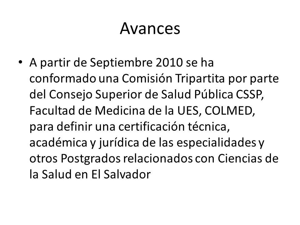Avances A partir de Septiembre 2010 se ha conformado una Comisión Tripartita por parte del Consejo Superior de Salud Pública CSSP, Facultad de Medicin