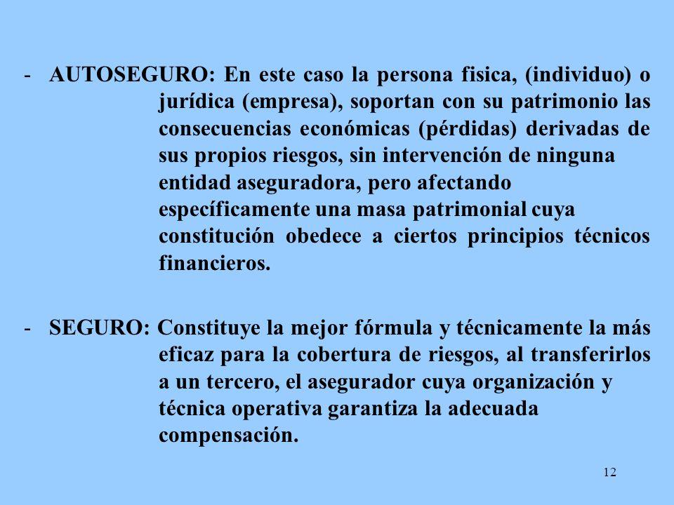 12 -AUTOSEGURO: En este caso la persona fisica, (individuo) o jurídica (empresa), soportan con su patrimonio las consecuencias económicas (pérdidas) d