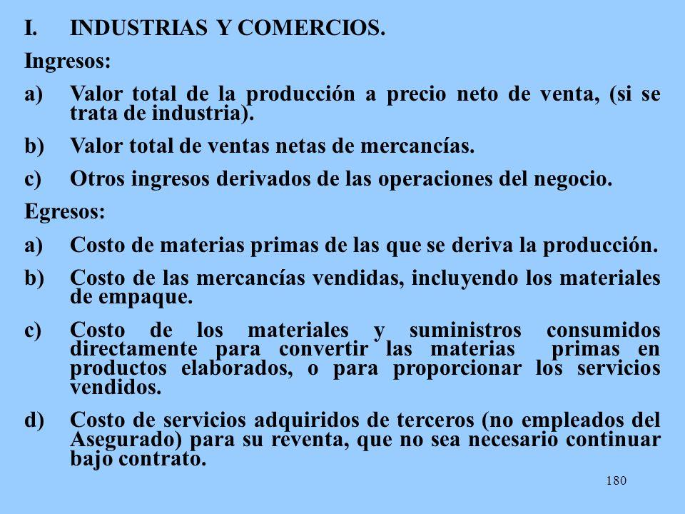180 I.INDUSTRIAS Y COMERCIOS. Ingresos: a)Valor total de la producción a precio neto de venta, (si se trata de industria). b)Valor total de ventas net