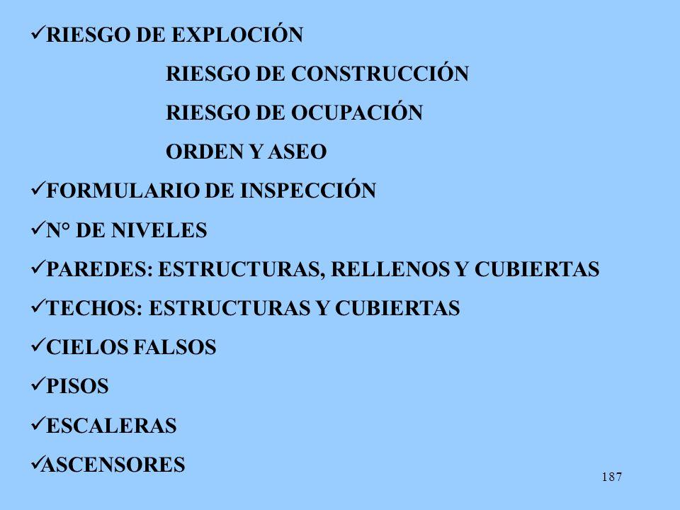 187 RIESGO DE EXPLOCIÓN RIESGO DE CONSTRUCCIÓN RIESGO DE OCUPACIÓN ORDEN Y ASEO FORMULARIO DE INSPECCIÓN N° DE NIVELES PAREDES: ESTRUCTURAS, RELLENOS