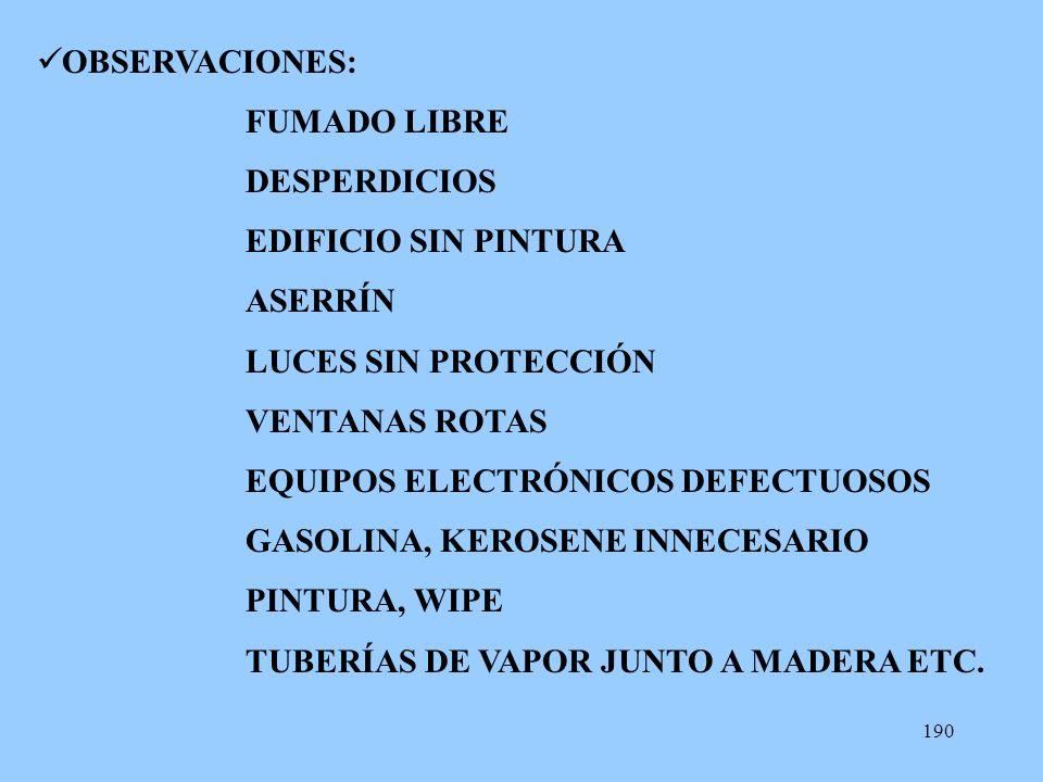 190 OBSERVACIONES: FUMADO LIBRE DESPERDICIOS EDIFICIO SIN PINTURA ASERRÍN LUCES SIN PROTECCIÓN VENTANAS ROTAS EQUIPOS ELECTRÓNICOS DEFECTUOSOS GASOLIN