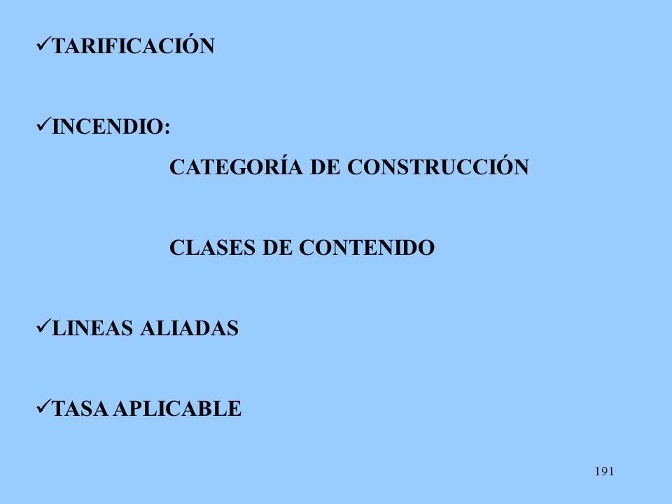 191 TARIFICACIÓN INCENDIO: CATEGORÍA DE CONSTRUCCIÓN CLASES DE CONTENIDO LINEAS ALIADAS TASA APLICABLE
