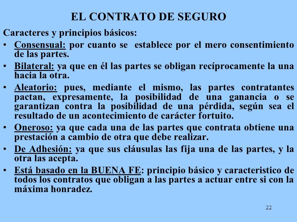 22 EL CONTRATO DE SEGURO Caracteres y principios básicos: Consensual: por cuanto se establece por el mero consentimiento de las partes. Bilateral: ya