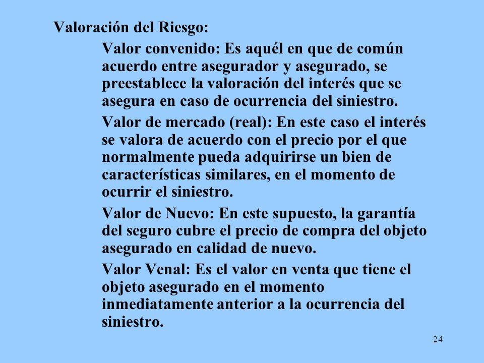 24 Valoración del Riesgo: Valor convenido: Es aquél en que de común acuerdo entre asegurador y asegurado, se preestablece la valoración del interés qu