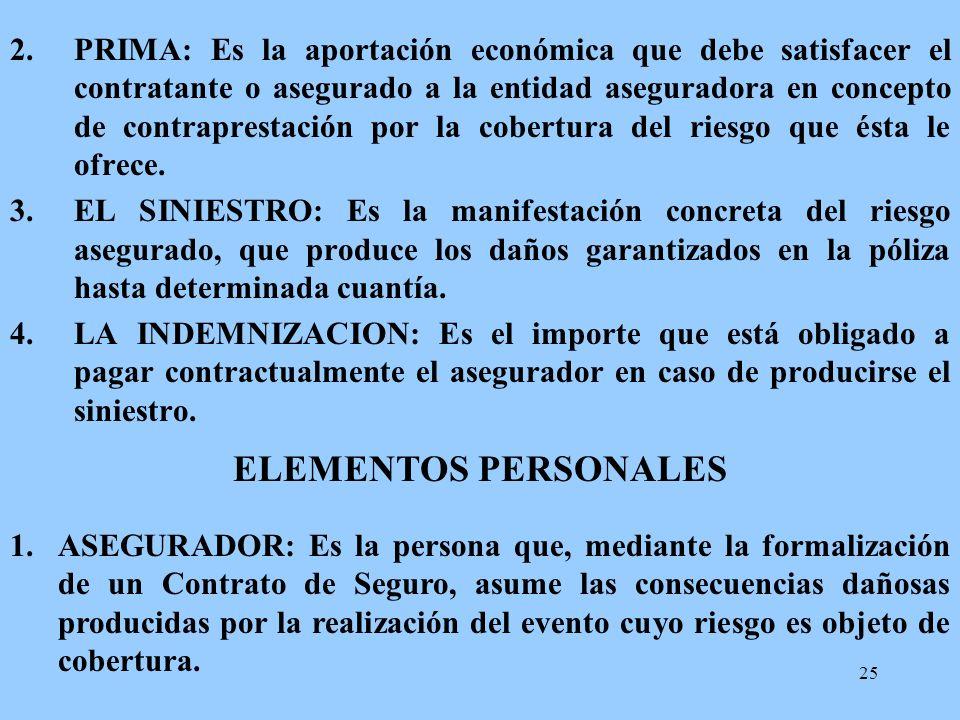 25 2.PRIMA: Es la aportación económica que debe satisfacer el contratante o asegurado a la entidad aseguradora en concepto de contraprestación por la