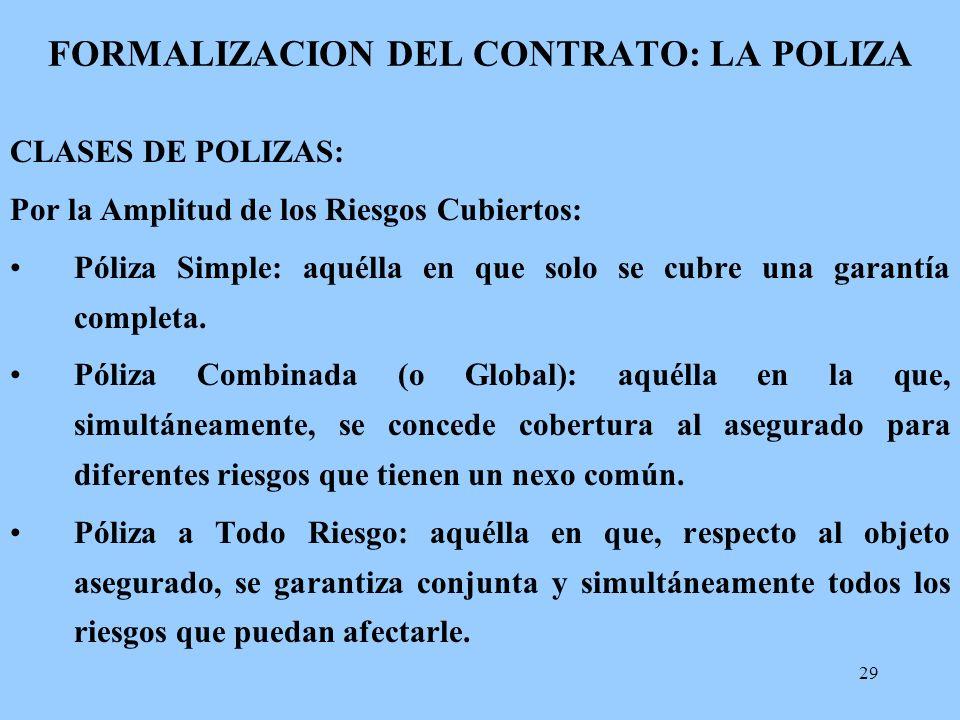 29 FORMALIZACION DEL CONTRATO: LA POLIZA CLASES DE POLIZAS: Por la Amplitud de los Riesgos Cubiertos: Póliza Simple: aquélla en que solo se cubre una