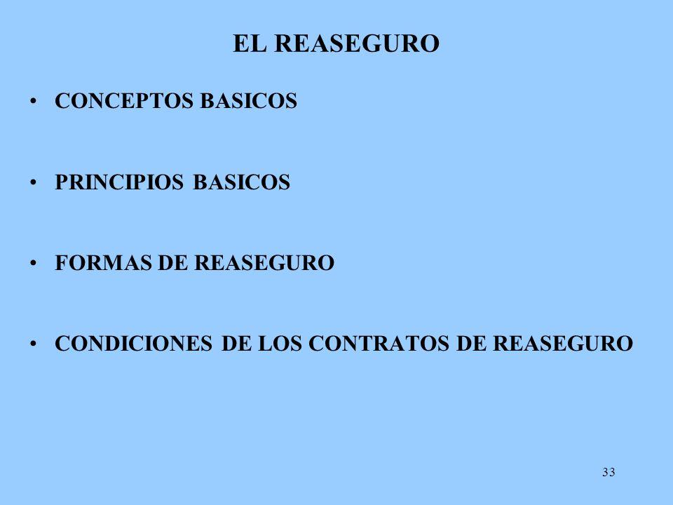 33 EL REASEGURO CONCEPTOS BASICOS PRINCIPIOS BASICOS FORMAS DE REASEGURO CONDICIONES DE LOS CONTRATOS DE REASEGURO