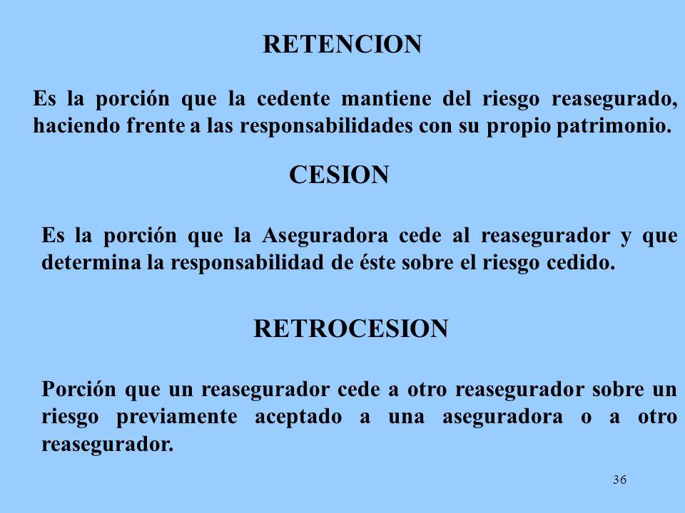 36 RETENCION Es la porción que la cedente mantiene del riesgo reasegurado, haciendo frente a las responsabilidades con su propio patrimonio. CESION Es