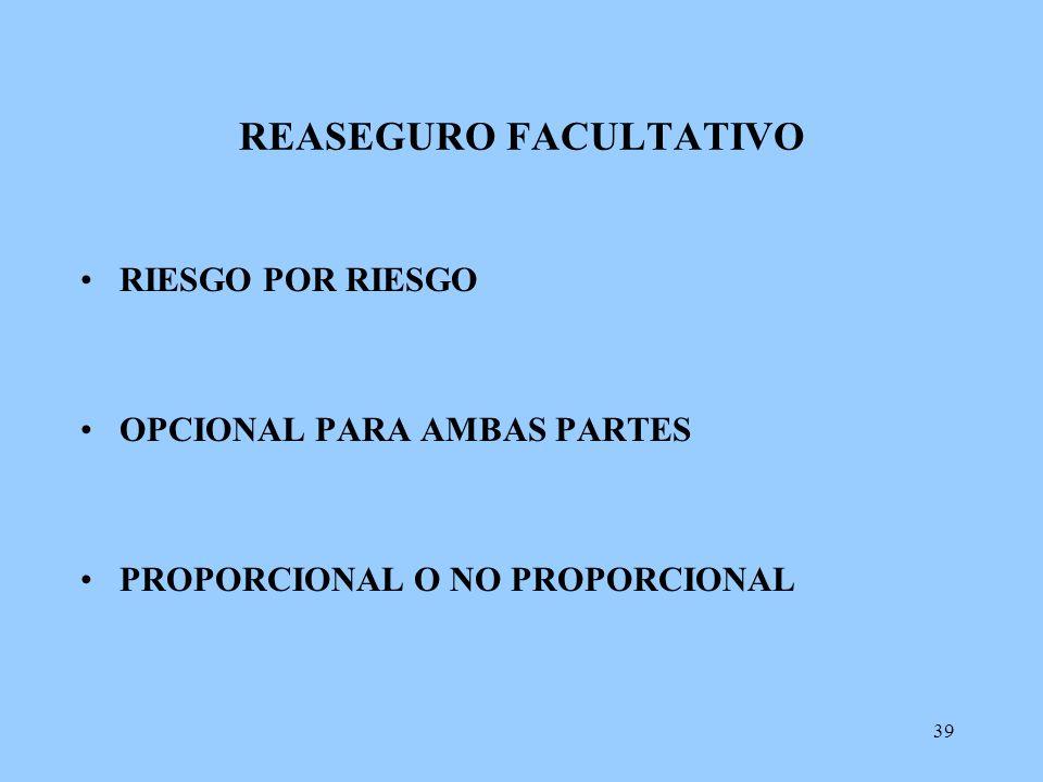 39 REASEGURO FACULTATIVO RIESGO POR RIESGO OPCIONAL PARA AMBAS PARTES PROPORCIONAL O NO PROPORCIONAL