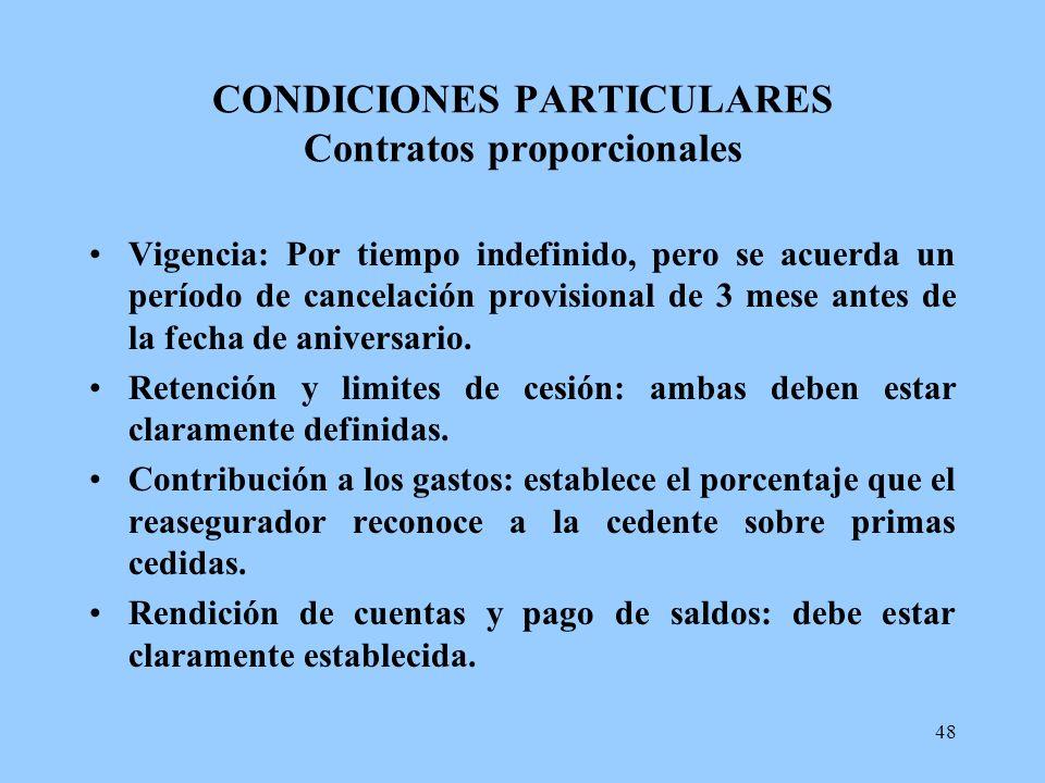 48 CONDICIONES PARTICULARES Contratos proporcionales Vigencia: Por tiempo indefinido, pero se acuerda un período de cancelación provisional de 3 mese