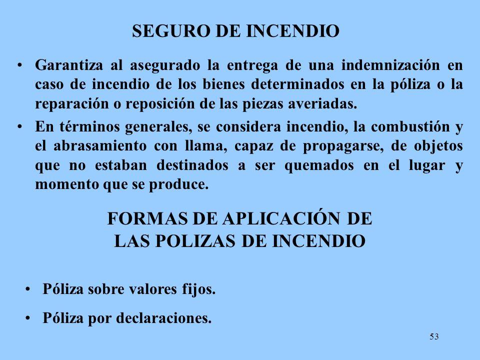 53 SEGURO DE INCENDIO Garantiza al asegurado la entrega de una indemnización en caso de incendio de los bienes determinados en la póliza o la reparaci