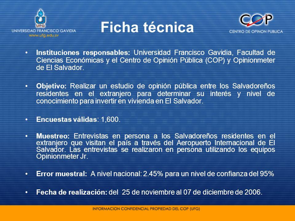 Ficha técnica Instituciones responsables: Universidad Francisco Gavidia, Facultad de Ciencias Económicas y el Centro de Opinión Pública (COP) y Opinio