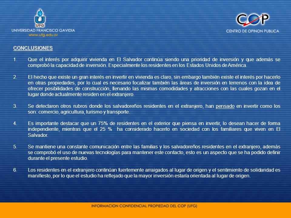 CONCLUSIONES 1.Que el interés por adquirir vivienda en El Salvador continúa siendo una prioridad de inversión y que además se comprobó la capacidad de