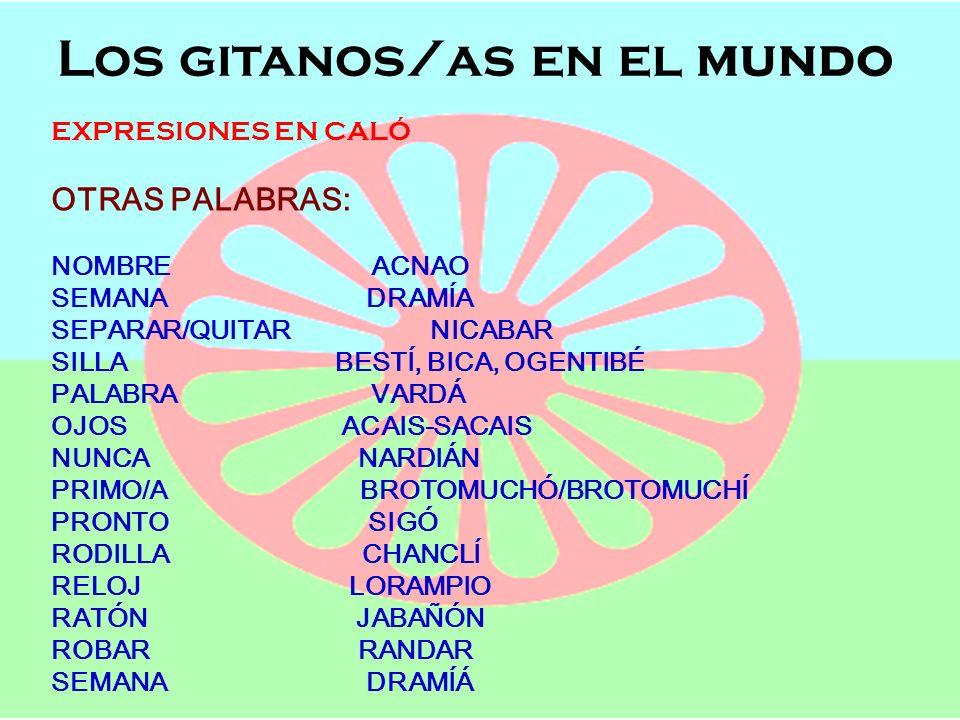 Los gitanos/as en el mundo Semana de Andalucía en el Cole OFICIOS, POBLACIÓN Y LENGUAJE Los gitanos/as en el mundo EXPRESIONES EN CALÓ OTRAS PALABRAS: