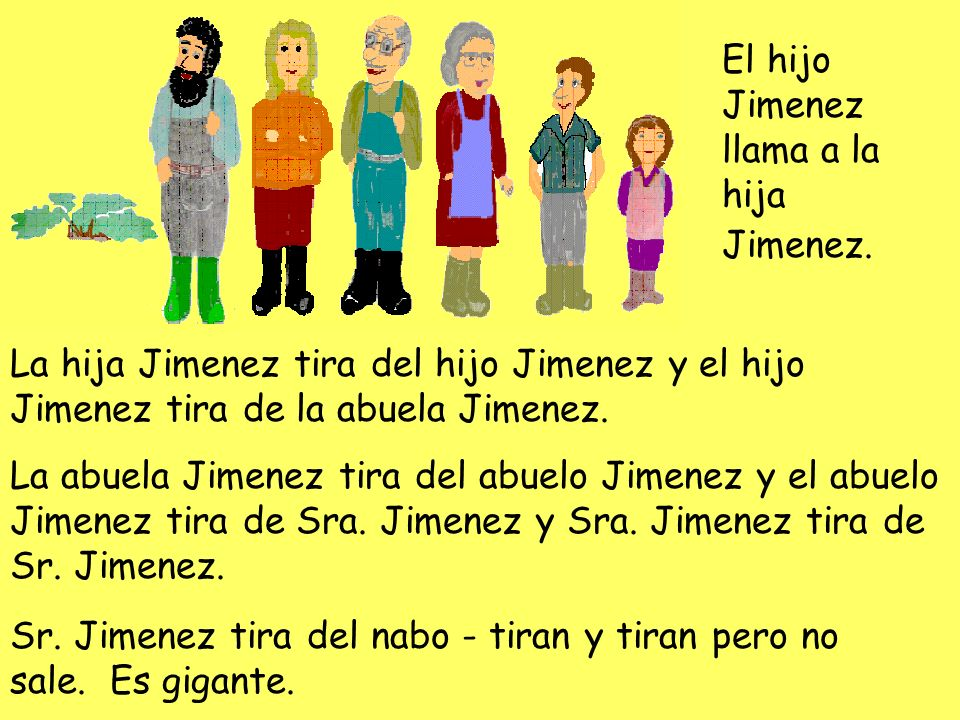El hijo Jimenez llama a la hija Jimenez. La hija Jimenez tira del hijo Jimenez y el hijo Jimenez tira de la abuela Jimenez. La abuela Jimenez tira del