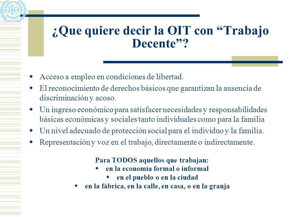¿Que quiere decir la OIT con Trabajo Decente. Acceso a empleo en condiciones de libertad.