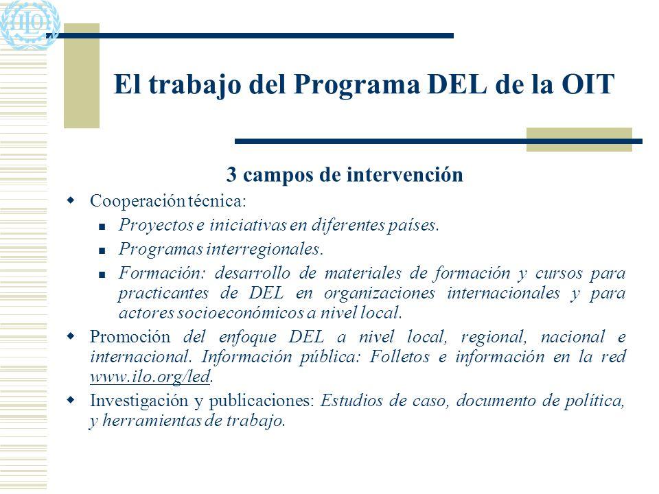 El trabajo del Programa DEL de la OIT 3 campos de intervención Cooperación técnica: Proyectos e iniciativas en diferentes países.