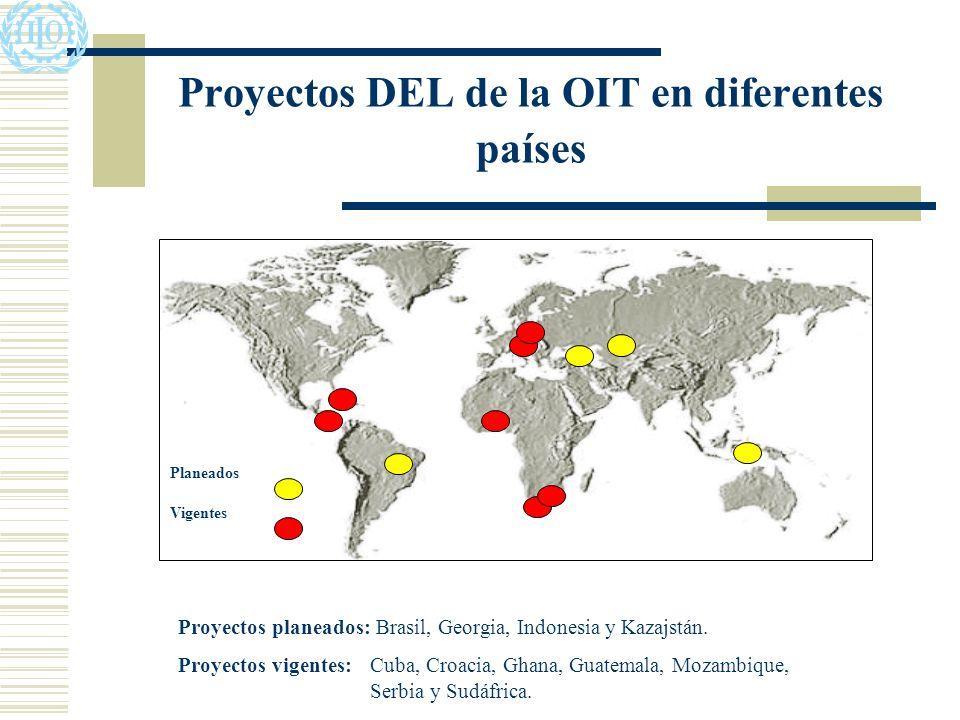 Proyectos DEL de la OIT en diferentes países Planeados Vigentes Proyectos planeados: Brasil, Georgia, Indonesia y Kazajstán.
