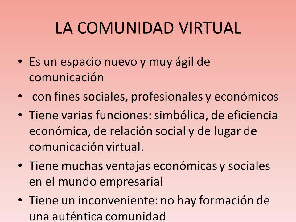 LA COMUNIDAD VIRTUAL Es un espacio nuevo y muy ágil de comunicación con fines sociales, profesionales y económicos Tiene varias funciones: simbólica, de eficiencia económica, de relación social y de lugar de comunicación virtual.