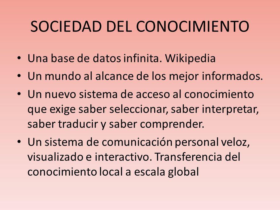 SOCIEDAD DEL CONOCIMIENTO Una base de datos infinita. Wikipedia Un mundo al alcance de los mejor informados. Un nuevo sistema de acceso al conocimient