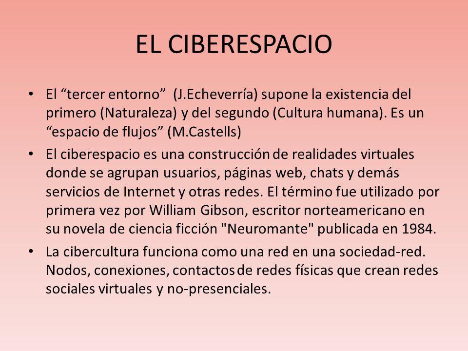 EL CIBERESPACIO El tercer entorno (J.Echeverría) supone la existencia del primero (Naturaleza) y del segundo (Cultura humana). Es un espacio de flujos