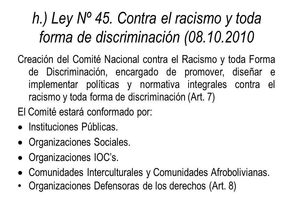 h.) Ley Nº 45. Contra el racismo y toda forma de discriminación (08.10.2010 Creación del Comité Nacional contra el Racismo y toda Forma de Discriminac