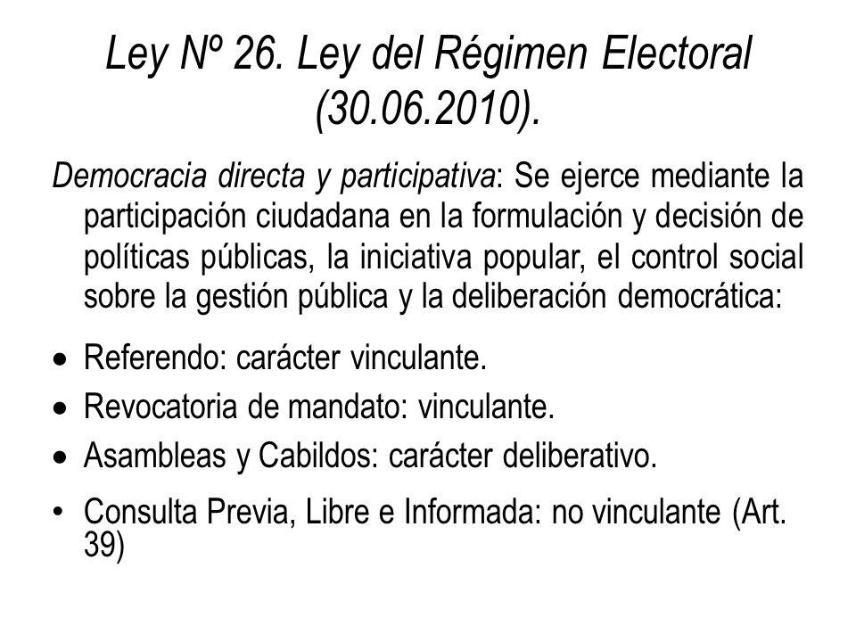 Ley Nº 26. Ley del Régimen Electoral (30.06.2010). Democracia directa y participativa : Se ejerce mediante la participación ciudadana en la formulació