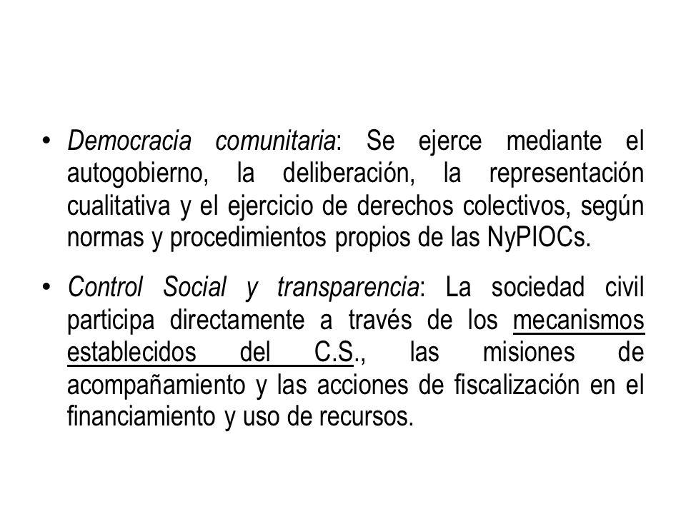 Democracia comunitaria : Se ejerce mediante el autogobierno, la deliberación, la representación cualitativa y el ejercicio de derechos colectivos, seg