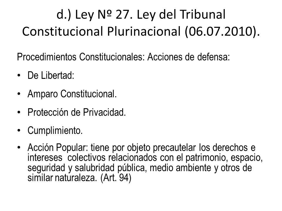 d.) Ley Nº 27. Ley del Tribunal Constitucional Plurinacional (06.07.2010). Procedimientos Constitucionales: Acciones de defensa: De Libertad: Amparo C