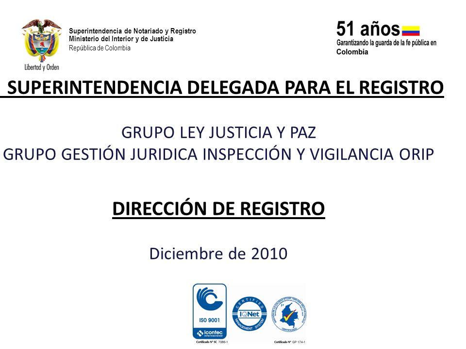 Superintendencia de Notariado y Registro Ministerio del Interior y de Justicia República de Colombia DIRECTIVOCARGOCOMPROMISO GRADO DE AVANCE SEGUIMIENTO ZAIDA BARRERO DE NOGUERA SUPERINTENDENTE DELEGADO PARA EL REGISTRO Vigilar, Inspeccionar y Controlar a través de (69) visitas la prestación del servicio público registral en las ORIPS, y supervisión de tarifas.