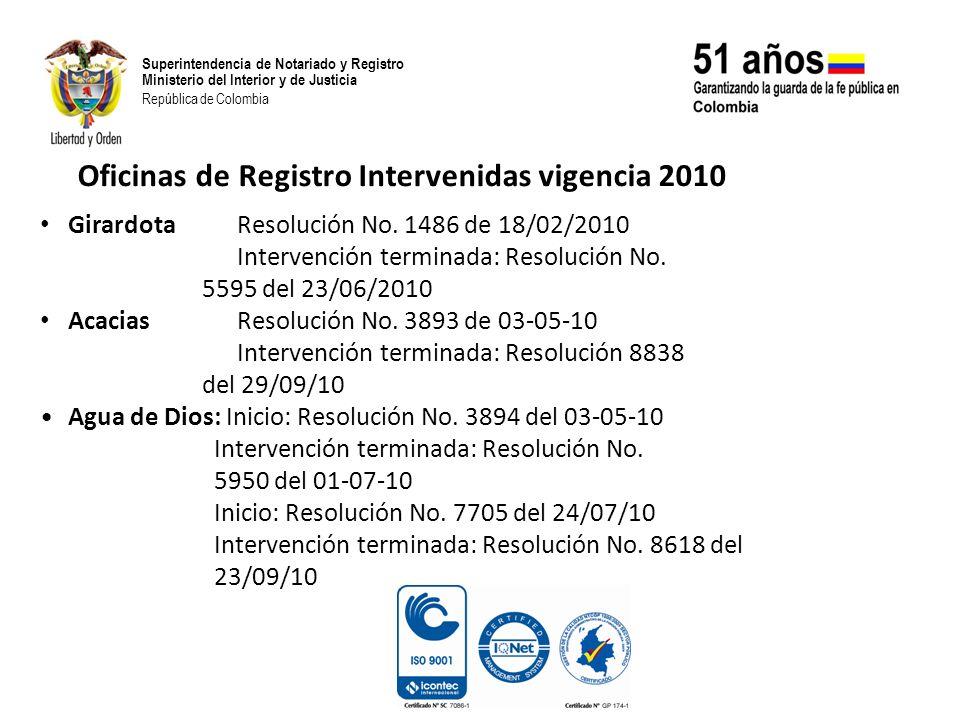 Superintendencia de Notariado y Registro Ministerio del Interior y de Justicia República de Colombia Girardota Resolución No. 1486 de 18/02/2010 Inter