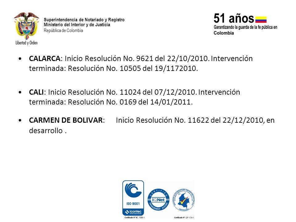 Superintendencia de Notariado y Registro Ministerio del Interior y de Justicia República de Colombia CALARCA: Inicio Resolución No. 9621 del 22/10/201