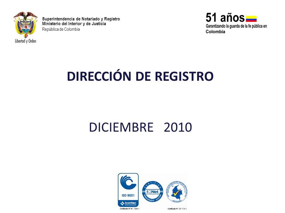 Superintendencia de Notariado y Registro Ministerio del Interior y de Justicia República de Colombia DIRECTIVOCARGOCOMPROMISO GRADO DE AVANCE SEGUIMIENTO ORLANDO GALLO SUAREZ DIRECTOR DE REGISTRO Coadyuvar en el desarrollo de las actividades programadas por el sistema de gestión de la calidad 100% Se realizaron 16 actividades de las 16 programadas, obteniendo la Certificación, cumpliendo el cien por ciento de lo proyectado quedando en ejecución las labores de ajuste y de mejoramiento continuo, para la Sostenibilidad de la Certificación del Sistema de la Gestión de la Calidad Brindar apoyo propio del área para facilitar el ingreso de las oficinas manuales prealistadas y grabadas al sistema SIR 100% En el 2010 ingresaron al sistema SIR 39 oficinas de registro.