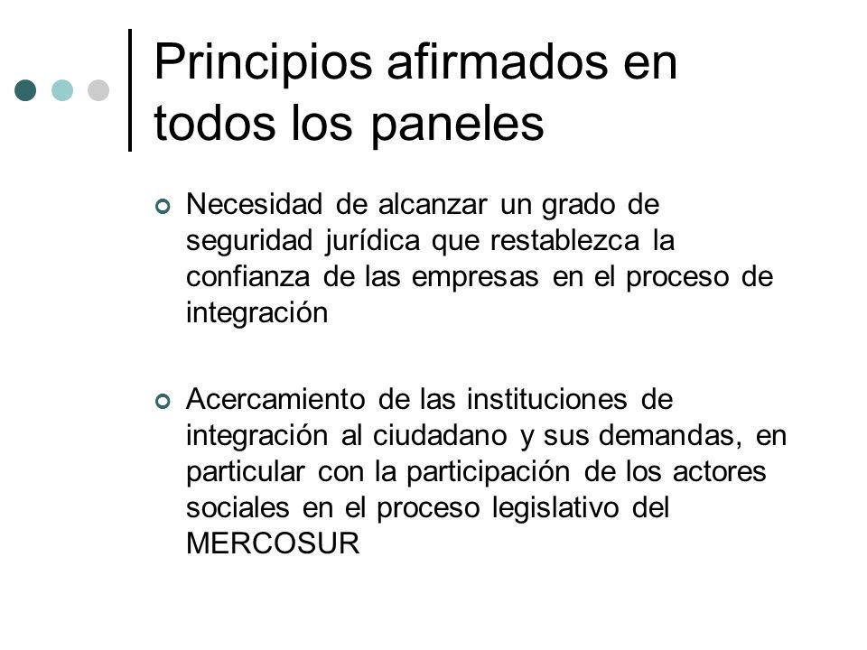 Principios afirmados en todos los paneles Necesidad de alcanzar un grado de seguridad jurídica que restablezca la confianza de las empresas en el proceso de integración Acercamiento de las instituciones de integración al ciudadano y sus demandas, en particular con la participación de los actores sociales en el proceso legislativo del MERCOSUR