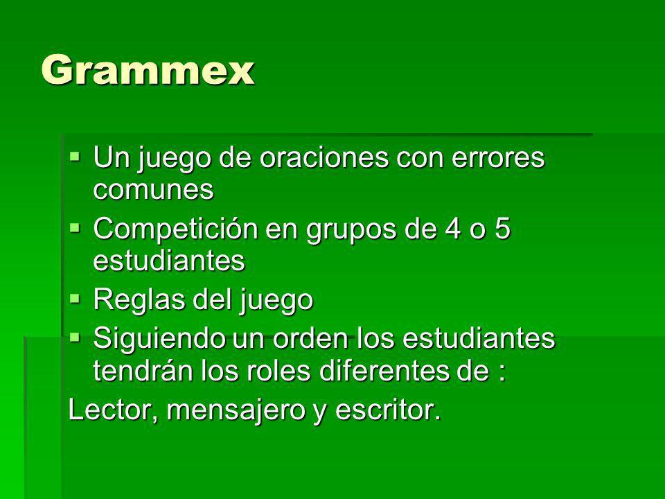 Grammex Un juego de oraciones con errores comunes Un juego de oraciones con errores comunes Competición en grupos de 4 o 5 estudiantes Competición en