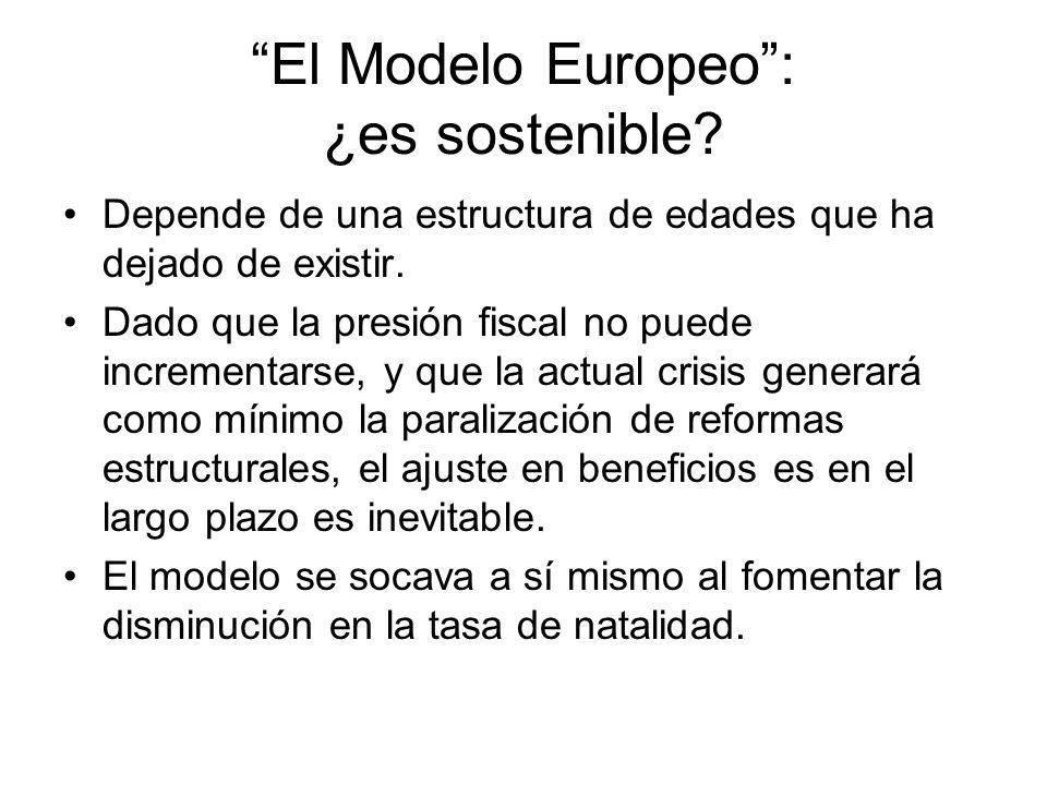 El Modelo Europeo: ¿es sostenible? Depende de una estructura de edades que ha dejado de existir. Dado que la presión fiscal no puede incrementarse, y