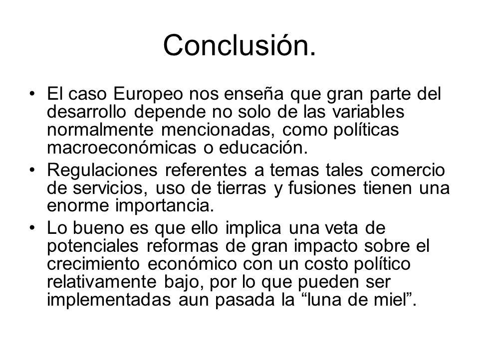 Conclusión. El caso Europeo nos enseña que gran parte del desarrollo depende no solo de las variables normalmente mencionadas, como políticas macroeco