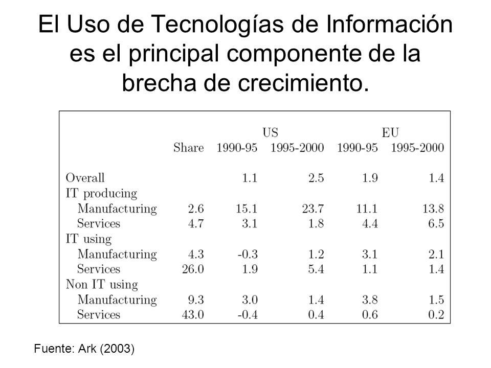 El Uso de Tecnologías de Información es el principal componente de la brecha de crecimiento. Fuente: Ark (2003)