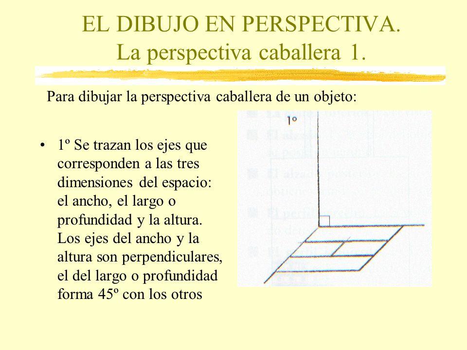 EL DIBUJO EN PERSPECTIVA. La perspectiva caballera 1. 1º Se trazan los ejes que corresponden a las tres dimensiones del espacio: el ancho, el largo o