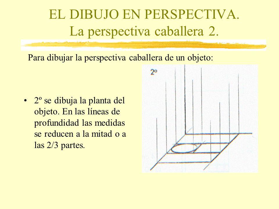 EL DIBUJO EN PERSPECTIVA. La perspectiva caballera 2. 2º se dibuja la planta del objeto. En las líneas de profundidad las medidas se reducen a la mita