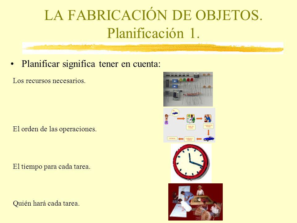 LA FABRICACIÓN DE OBJETOS. Planificación 1. Planificar significa tener en cuenta: Los recursos necesarios. El orden de las operaciones. El tiempo para