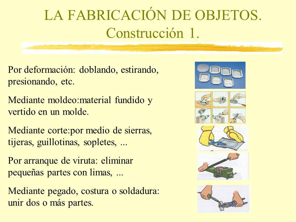 LA FABRICACIÓN DE OBJETOS. Construcción 1. Por deformación: doblando, estirando, presionando, etc. Mediante moldeo:material fundido y vertido en un mo