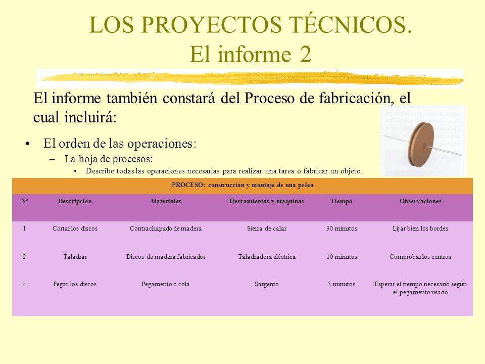 LOS PROYECTOS TÉCNICOS. El informe 2 El orden de las operaciones: –La hoja de procesos: Describe todas las operaciones necesarias para realizar una ta